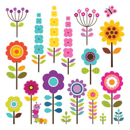 flores retro: Conjunto de flores retro en colores de primavera bonitas con oruga y la mariposa aislado en blanco Vector - incluye los trazados de recorte
