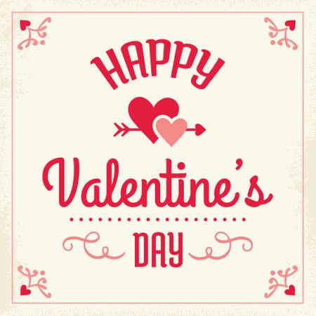 corazones de amor: Romantic Plantilla de tarjeta de San Valent�n feliz - dise�o tipogr�fico con corazones de amor en rosa rojo y crema