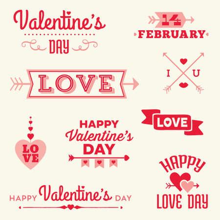Conjunto de inconformista Valentines Day banners tipográficos y mensajes con corazones y flechas