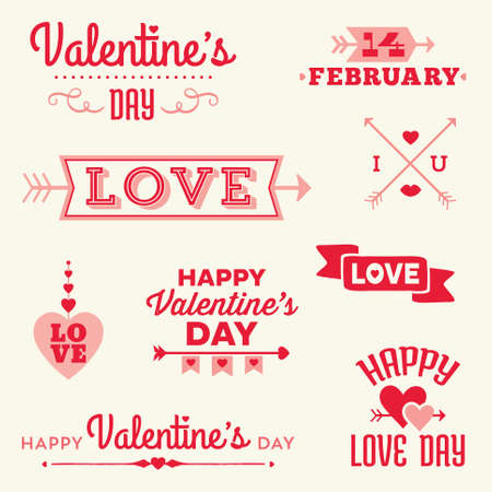 Set of hipster Valentines Day typographic banners and messages with hearts and arrows