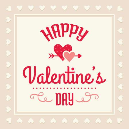 saint valentin coeur: Romantique mod�le de carte Saint Valentin heureux - conception typographique avec des coeurs d'amour dans le rose cr�me et rouge Illustration