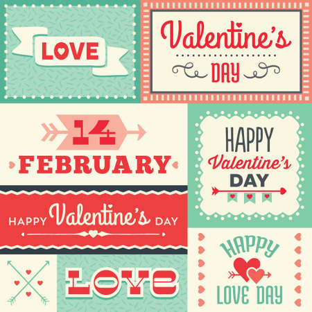 Set of hipster Valentines Day typographic labels and cards
