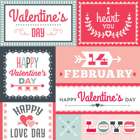valentine's day: Set of hipster Valentines Day typographic labels and cards in red and pink