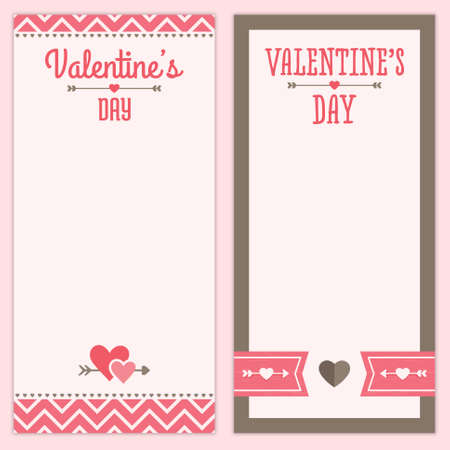 pink brown: Set of hipster designs for Valentines Day  Menu, invitation or shopping list templates