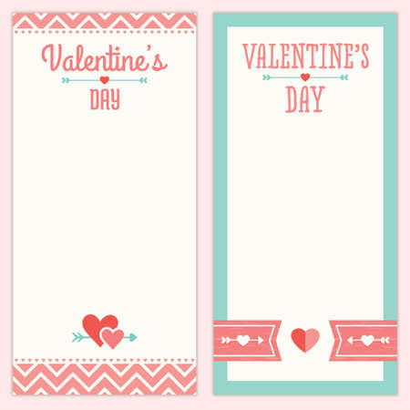 Set of hipster designs for Valentines Day  Menu, invitation or shopping list templates