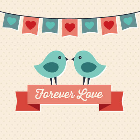 bunting flags: Sweet hipster greeting card for Valentines Day with two cute love birds and ribbon banner