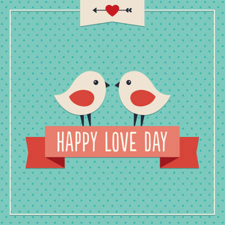 Sweet hipster greeting card for Valentines Day with two cute love birds and ribbon banner