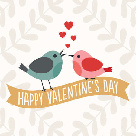 Retro Valentines Day card with two cute love birds sitting on a gold ribbon banner Vector