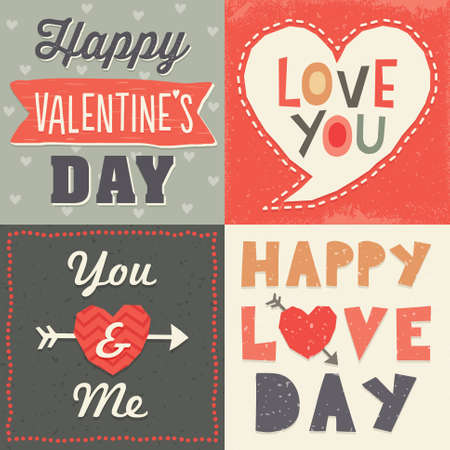 Set of hipster typographic love cards and banners for Valentines Day in retro style with cool hand made fonts