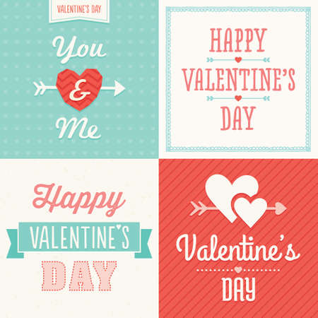 Set of hipster typographic love cards and banners for Valentines Day in pink and aqua Vector