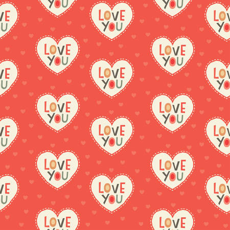 love you: Seamless hipster hearts background pattern with Love You text in red, gray and cream for Valentines Day or wedding Illustration