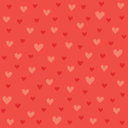 Cute seamless hipster hearts background pattern in red, pink and orange for Valentines Day or wedding Vector