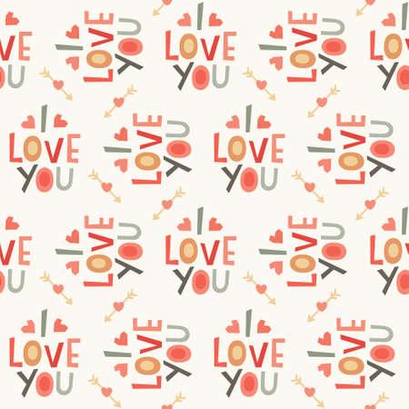 te negro: Patr�n de fondo sin fisuras con el inconformista quiero texto en rojo, gris y crema para el d�a de San Valent�n o de la boda