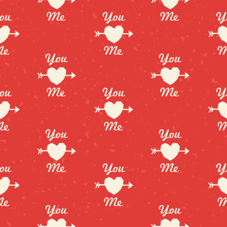 Seamless hipster background pattern with You and Me text in red and cream for Valentines Day or wedding Vector