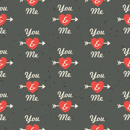 Seamless hipster background pattern with You and Me text in red and gray for Valentines Day or wedding Vector