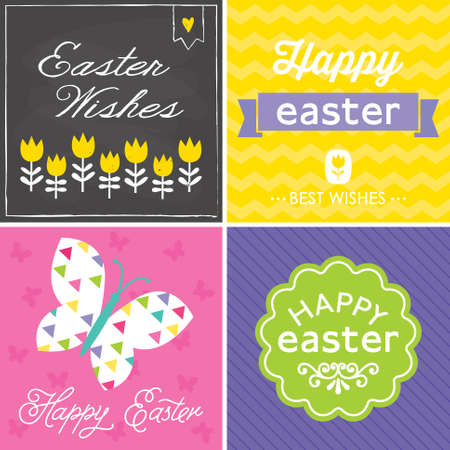 Set of 4 cute hipster typographic greeting cards and banners for Spring and Easter  Vector