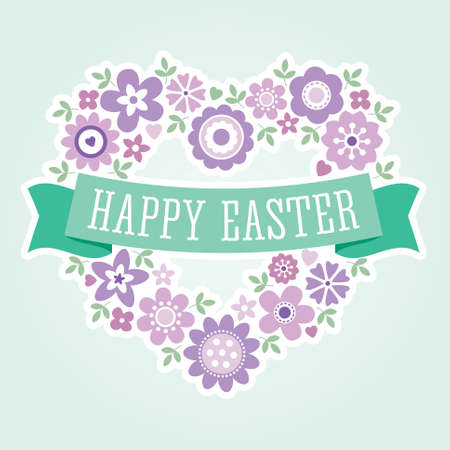 Menu or greeting card template for Spring and Easter with floral heart and ribbon banner in purple and mint green