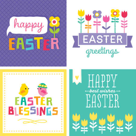 Set of 4 cute hipster typographic cards and banners for Spring and Easter  Illustration