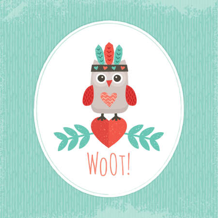 Cute illustration with sweet little hipster owl in native american feather headdress, for cards, posters, postcards