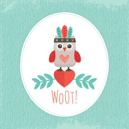 Ilustración linda con dulce mochuelo inconformista en tocado de la pluma del nativo americano, para tarjetas, carteles, tarjetas postales Foto de archivo - 29011084