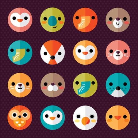 aves caricatura: Conjunto de animales y aves Iconos de la cara plana en brillantes colores retro para las etiquetas engomadas, las tarjetas, las etiquetas y las etiquetas de estilo Minimal, diseño papel doblado Vectores