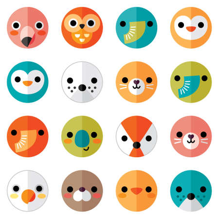 sellos: Vector conjunto de iconos de animales y aves de la cara plana en brillantes colores retro de pegatinas, tarjetas, etiquetas y etiquetas. Sin fisuras, aislado en blanco, estilo minimalista, dise�o doblado de papel.