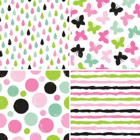 Set of seamless hipster backgrounds for girls in pinks and greens. Rough hand drawn patterns with butterflies, dots, raindrops and stripes. Vector