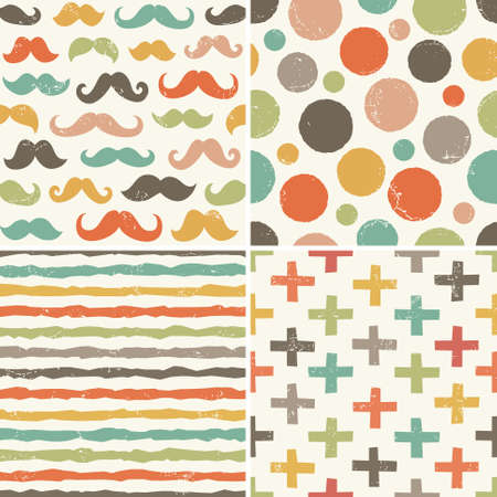 Set of seamless hipster backgrounds in retro colors. Rough hand drawn patterns with moustaches, dots, stripes, swiss crosses. Vector