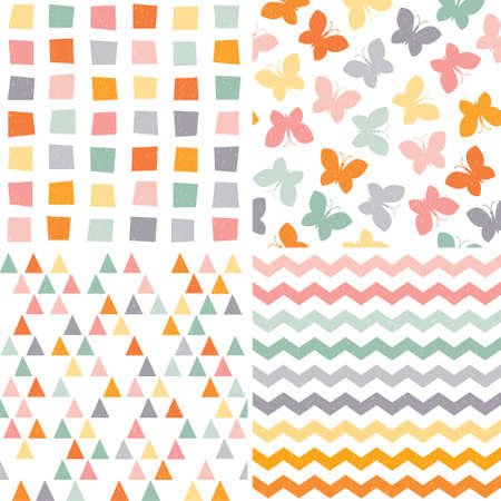 Set of seamless hipster background patterns in orange, pink and gray, with butterflies, triangles, chevrons and polygons. Vector