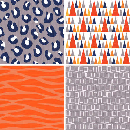 Set of 4 seamless tribal patterns in orange, gray and navy blue with grunge texture. Includes leopard and zebra prints, triangle teepee pattern and geometric rectangles.