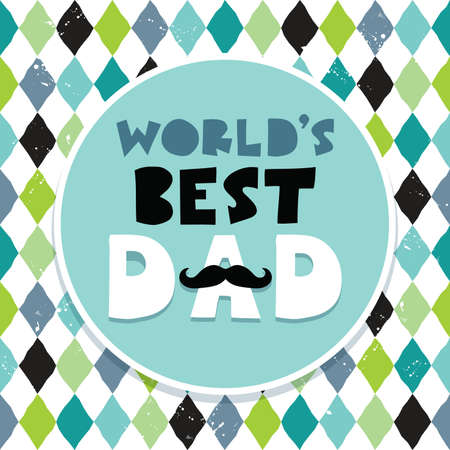 Greeting card or menu template for Fathers Day with hand made text and mustache background pattern in retro colors. Happy Dads Day. Grunge effect, text frame banner. Vector