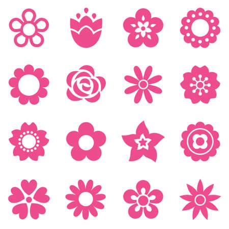 cerisier fleur: Ensemble d'icônes de fleurs plates en silhouette isolé sur blanc. Rétros conceptions simples en rose. Motif de fond sans soudure pour papier d'emballage cadeau, le textile, le papier peint.