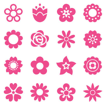 Set of flat flower icons in silhouette isolated on white. Simple retro designs in pink. Seamless background pattern for gift wrapping paper, textiles, wallpaper.