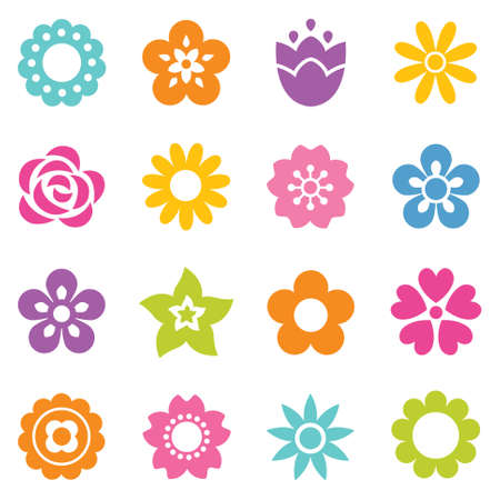 patrones de flores: Conjunto de iconos de flores planas en silueta. Simples ilustraciones retro en colores brillantes para pegatinas, etiquetas, etiquetas, papel de regalo.
