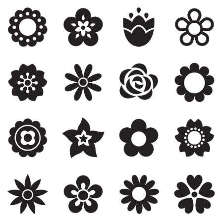 blanco: Conjunto de iconos de flores planas en silueta aislados en blanco. Simples diseños retro en blanco y negro. Patrón de fondo sin fisuras para el papel de regalo, textiles, papel pintado.