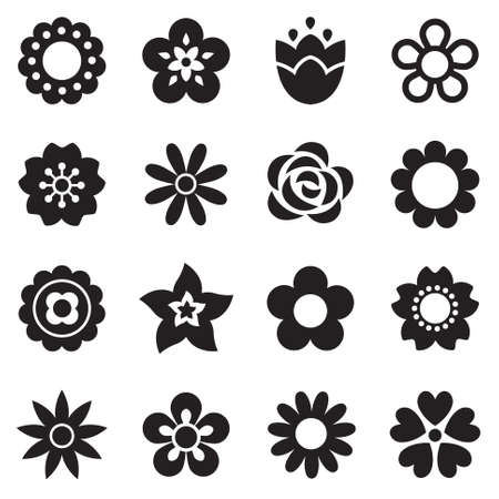 Set of flat flower icons in silhouette isolated on white. Simple retro designs in black and white. Seamless background pattern for gift wrapping paper, textiles, wallpaper. Vettoriali
