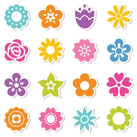 flower cartoon: Conjunto de icono plana pegatinas de flores en colores brillantes. Simples dise�os retro, patr�n de fondo sin fisuras para pegatinas, etiquetas, etiquetas, papel de regalo.