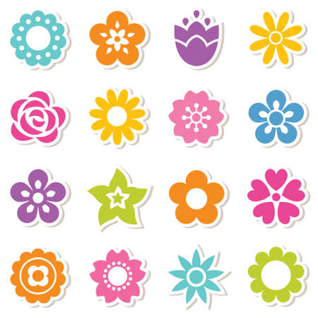 Set of flat icon flower stickers in bright colors. Simple retro designs, seamless background pattern for stickers, labels, tags, gift wrapping paper.