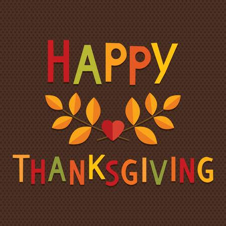 Tarjeta o menú plantilla Feliz Día de Acción de Gracias en colores de la vendimia con el saludo y el otoño las hojas de texto sobre fondo de textura oscura.