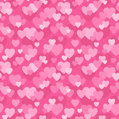 Seamless background pattern with love hearts design in shades of pink for Valentine