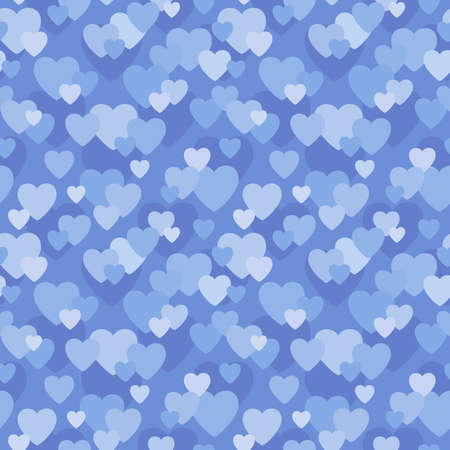 Seamless background pattern with love hearts design in shades of blue for baby, wedding, scrapbook, surface textures.