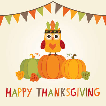 feathered: Happy Thanksgiving Day card, poster or menu design with bunting flags and cute owl in native american feathered headdress sitting on a pumpkin. Illustration