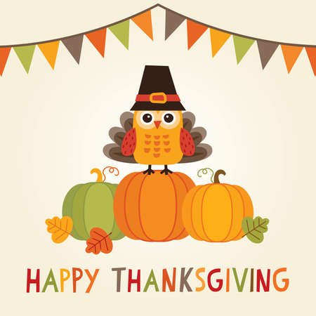 thanksgiving: Happy Thanksgiving Day card, poster or menu design with bunting flags and cute owl in turkey costume sitting on a pumpkin.