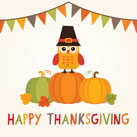 Happy Thanksgiving Day card, poster or menu design with bunting flags and cute owl in pilgrim costume sitting on a pumpkin. Illustration