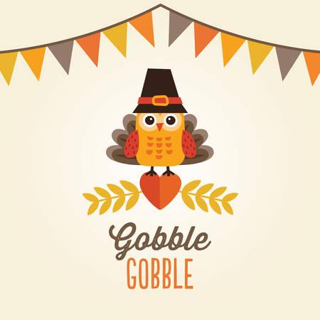 thanksgiving day symbol: Carta, poster o un menu di progettazione felice Giorno del Ringraziamento con bandiere Zigolo e gufo carino in costume e cappello di tacchino pellegrino.