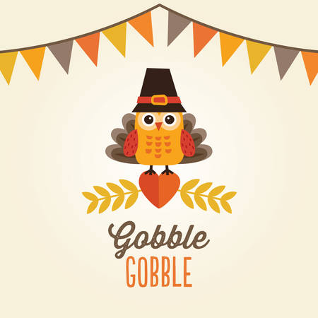 pilgrim costume: Happy Thanksgiving Day card, poster or menu design with bunting flags and cute owl in turkey costume and pilgrim hat. Illustration