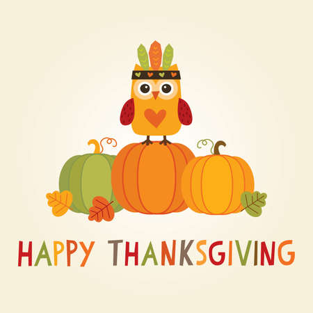 indian thanksgiving: Happy Thanksgiving Day card, poster or menu design with cute owl in native american feathered headdress sitting on a pumpkin.