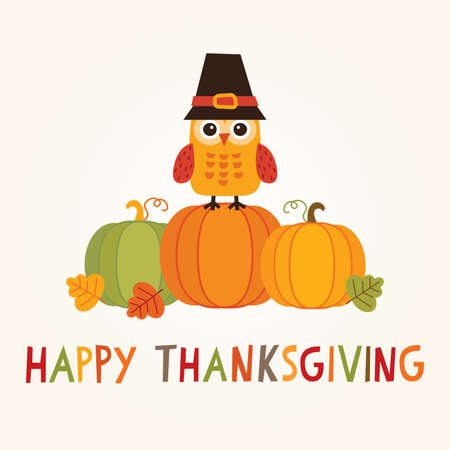 Happy Thanksgiving Day card, poster or menu design with cute owl in pilgrim costume sitting on a pumpkin. Illustration