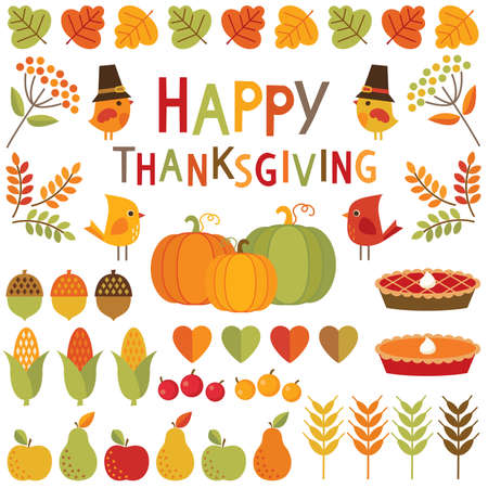 秋、秋と感謝祭のためのかわいい、カラフルなデザイン要素のセットです。幸せな感謝祭の活版印刷メッセージを含まれています。