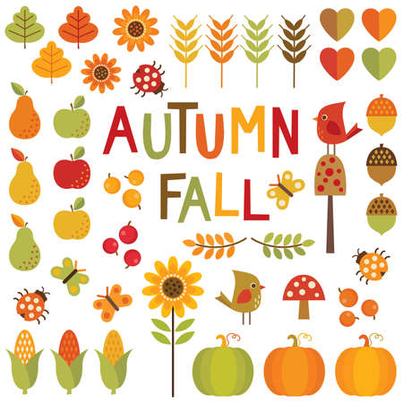 Set of cute, colorful design elements for autumn, fall and thanksgiving. Illusztráció